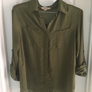 Army green chiffon button up blouse